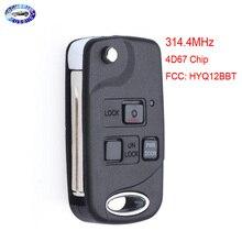 3 Button Folding Flip Remote key Fob 4D67 Chip for Lexus EX330 RX330 2004 2005 2006 2007  FCC: HYQ12BBT
