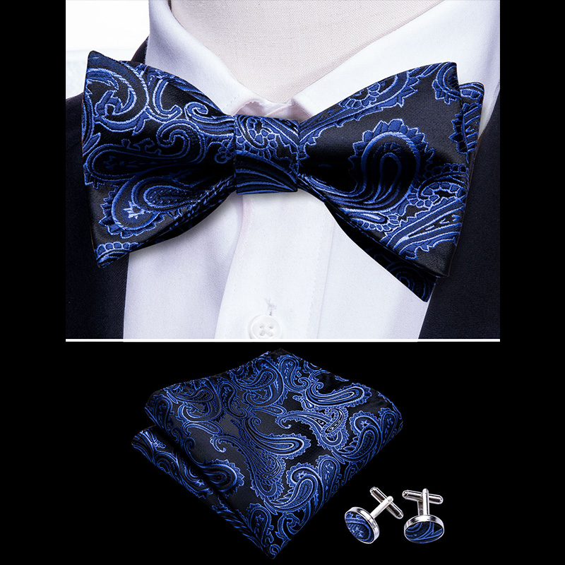 Navy Butterfly Men Ties Self Bow Ties For Men Silk Blue Black Paisley Cufflinks Suit Collar Removable Necktie Barry.Wang LH-1007