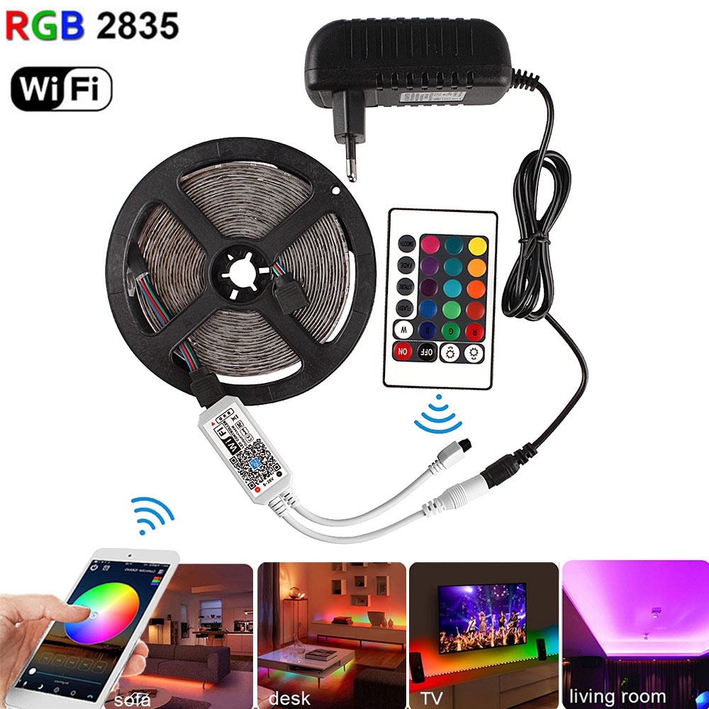 Bluetooth RGB Led Strip Lights WiFi 2835 5M DC 12V Waterproof Neon Strips Ribbon Fita Led Diode Tape + Remote Controller Adapter