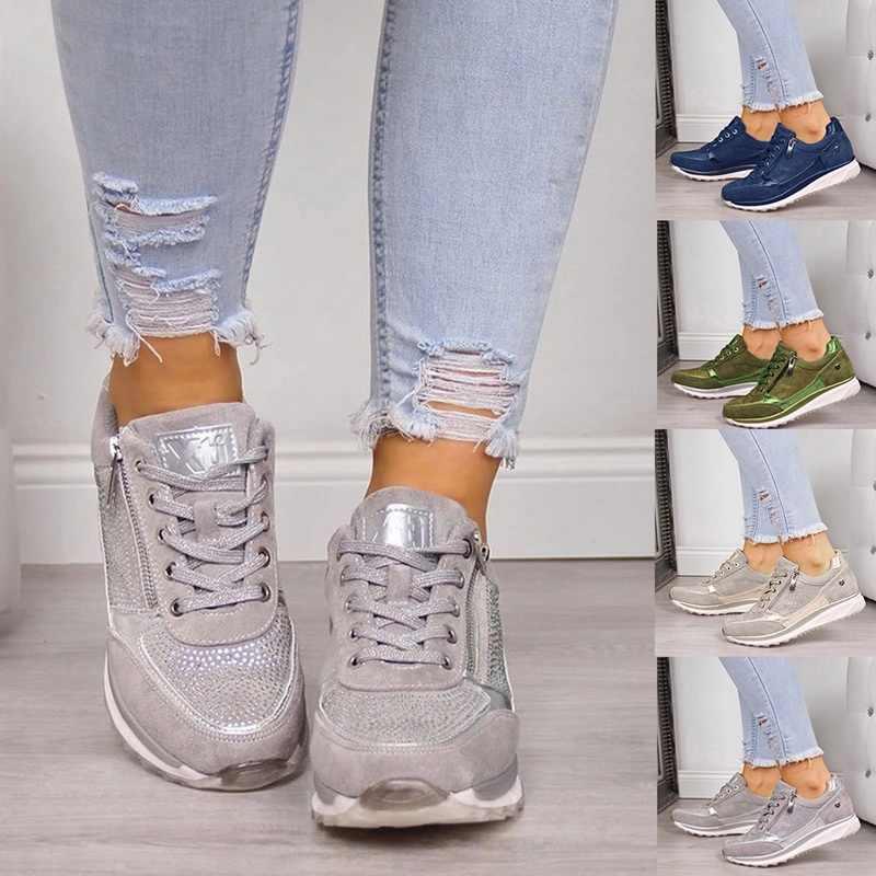 2020 Musim Semi Wanita Kasual Kulit Datar Wedge Platform Sneakers Potongan Slip Di Flat Sepatu Sepatu Wanita Dropship