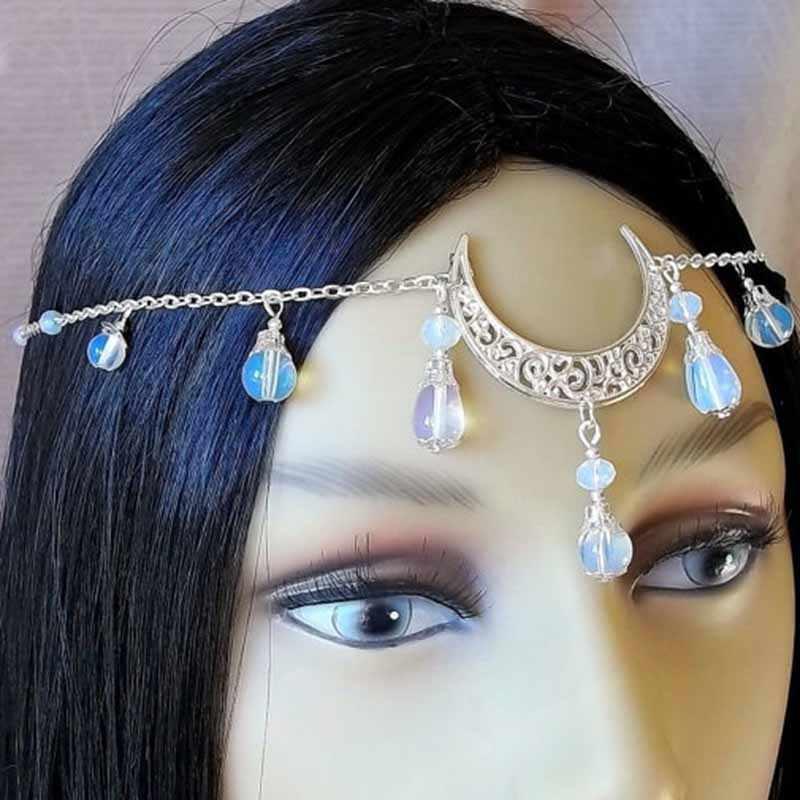 India mujeres frente joyería Vintage cuenta con forma de luna cabeza cadena cabeza accesorios T217