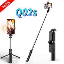 Q02S ไร้สายบลูทูธ Selfie Stick Mini ขาตั้งกล้อง Stabilizer ด้วยหลอดไฟ LED รีโมทคอนโทรลสำหรับ IOS Android
