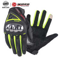 SCOYCO Touch Screen Motorcycle Gloves Summer Breathable Wearable Protective Outdoor Sports Full Finger Riding Moto Gloves MC44