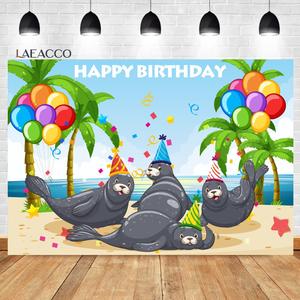 Image 2 - Laeacco Birthday Photozone Jungle Forest Animals Safari Party Photography Backdrops Baby Shower Backgrounds Newborn Photocall