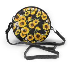 Женская круглая сумка на плечо noisydesign, модная сумка мессенджер с подсолнухами, Дамский кошелек