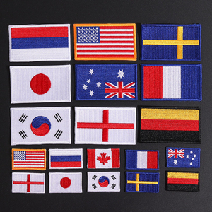 Country Flag Patch Stripes Embroidered Russia UK France EU Netherlands Flag Tactical Military Patches Army Applique stripe Badge(China)