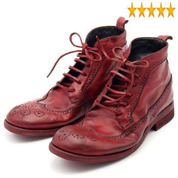 Leather Italy Genuine Handmade Cow Male Ankle Lace Up Wing Tip Brogue Heel Work Satety Shoes Men Motorcycle Boots Punk Red