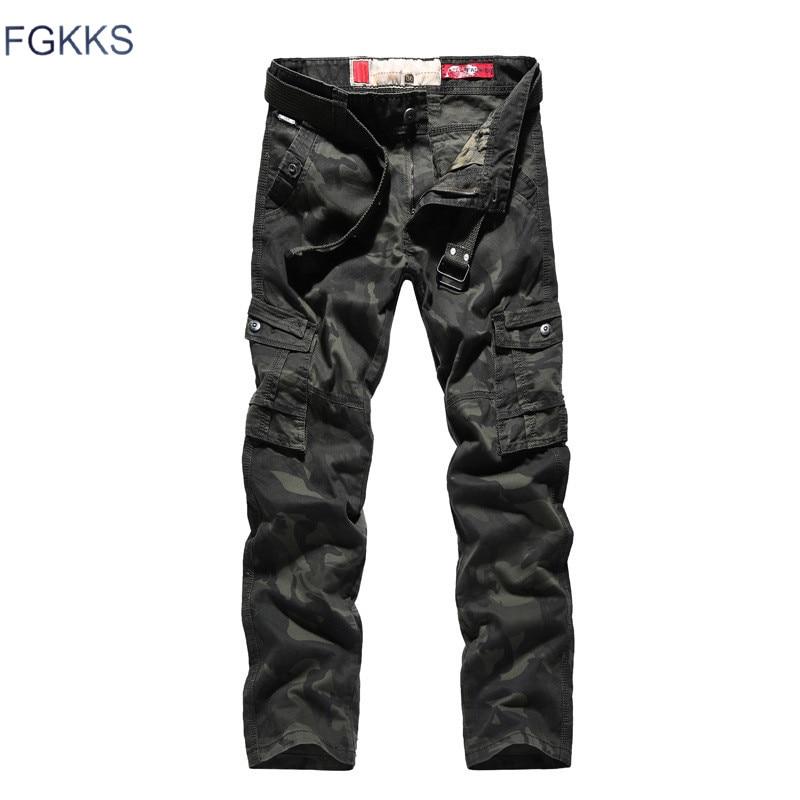 FGKKS Men Casual Straight Pants Fashion Brand Men's Cotton Slim Fit Camouflage Trousers Male Multi-Pocket Cargo Pants