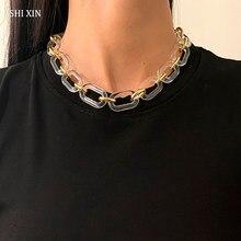 Shixin acrílico chunky curta corrente colar no pescoço moda transparente/cor do ouro grosso gargantilha colar para jóias femininas