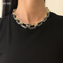 SHIXIN Acrylic Chunky Short Chain Necklace on Neck Fashion Transparent/Gold Color Thick Choker Collar Necklace for Women Jewelry