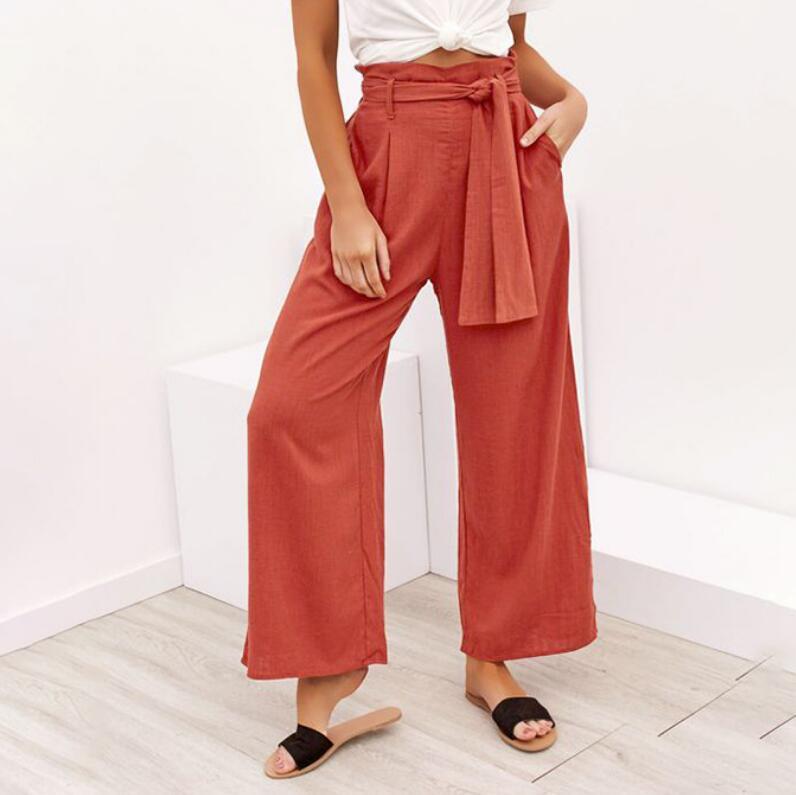 Summer   Wide     Leg     Pants   Women Drawstring High Waist Palazzo   Pants   Streetwear Vacation Loose Trousers Pantalon Femme