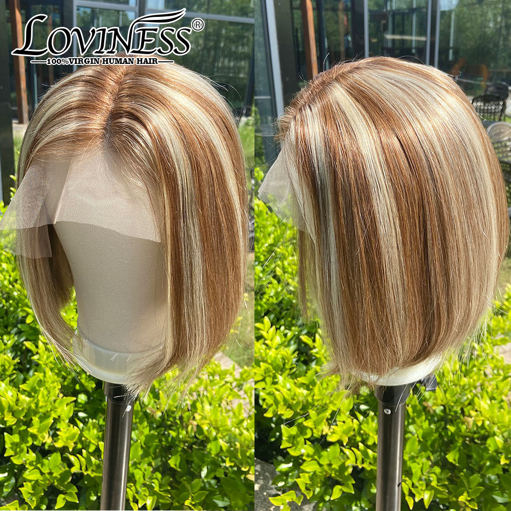 Short Bob Wig Lace Front Human Hair Balayage Wig Extensions Highlight Ombre Blonde Brown Ginger Cheap Wig Brazilian Virgin Hair