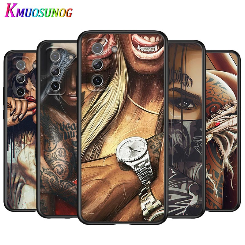 Sexy Sleeve Tattoo Girl for Samsung Galaxy S21 Note 20 S20 FE Lite Ultra 10 9 8 Pro S10E S10 5G S9 S8 S7 S6 Plus Phone Case