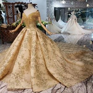 Image 3 - HTL313黄金のウェディングドレス2020でベールvネッククリスタルタッセル王女ブライダルドレスアップリケボールガウン
