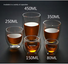 New 80/150/250 / 350ml Heat Resistant Double Wall Cup Beer Coffee Cups Handmade Healthy Drink Mug Tea Transparent Drinkware