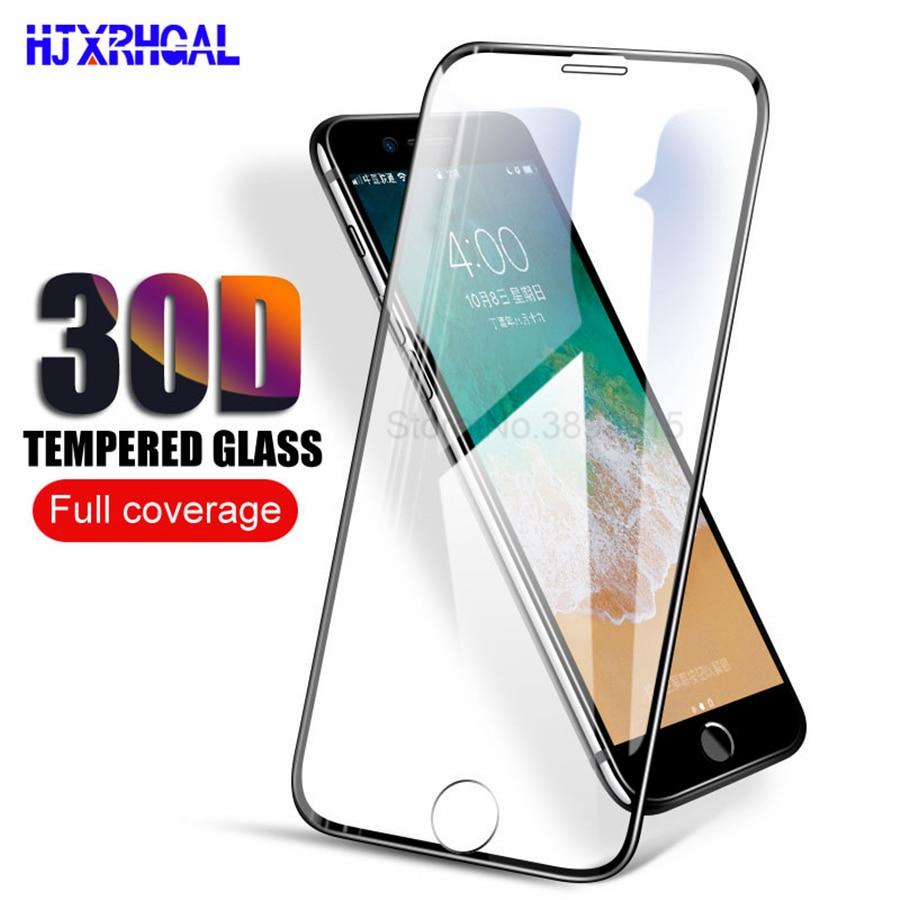 Vidro protetor 30d com bordas arredondadas, vidro protetor, para iphone 11, pro, max, x, xr, xs, max, 6, 6s, 7, 8, plus película protetora de tela de vidro temperado, cobertura completa,