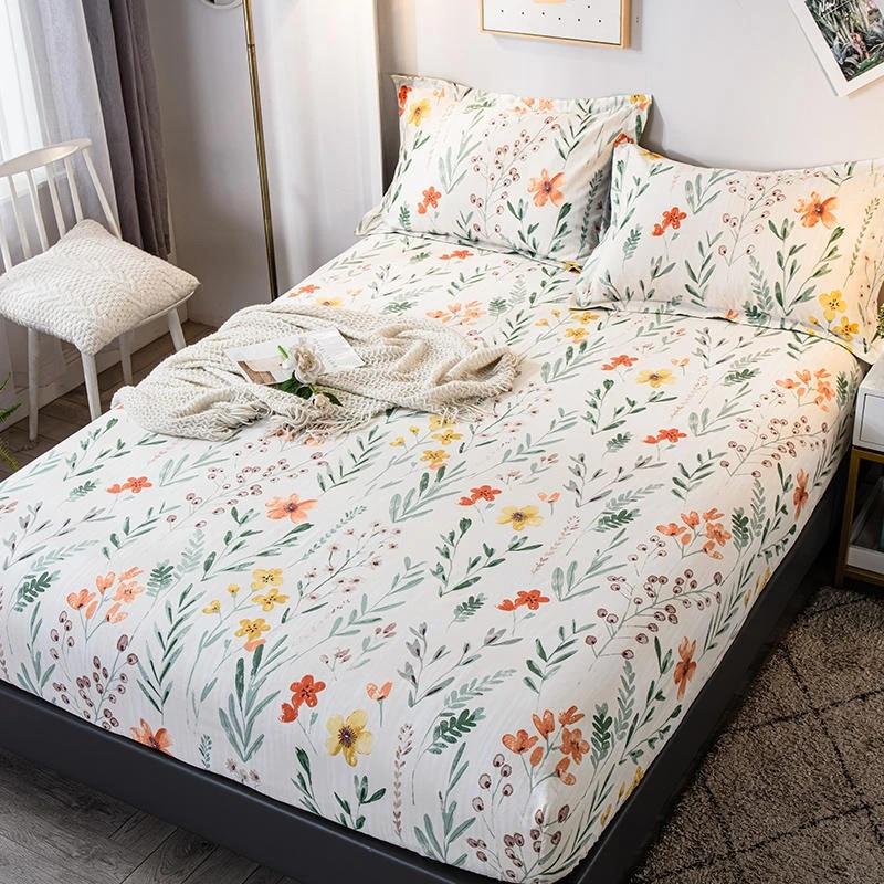 bonenjoy 1 pc 100 cotton bed sheet with elastic queen size floral style sheets on elastic drap de lit 180x200cm bed linen cotton