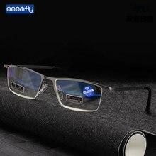 Seemfly meio quadro anti luz azul óculos de leitura metal alta definição presbiopia óculos com caixa diopters + 1.0 a 4.0