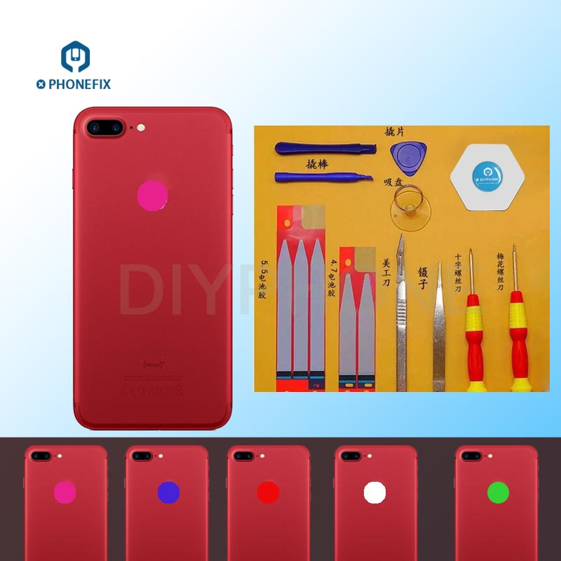 PHONEFIX 16 Colors LED Logo Light Flex Cable For IPhone 6 6P 6S 6SP 7 7P Touch Logo Change Color Replacement Part