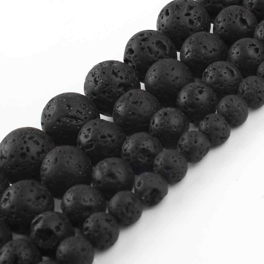 """Naturalne skały wulkaniczne czarny kamień lawowy luźne koraliki przekładki koraliki do tworzenia biżuterii DIY akcesoria do bransoletki 15 """"4/6/8/10/12/14mm"""
