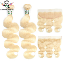 Panda 613 Blonde Body Wave Bundles And Lace Frontal Closure For Women Remy Brazilian Blonde 613 2 Bundles With Frontal Closure