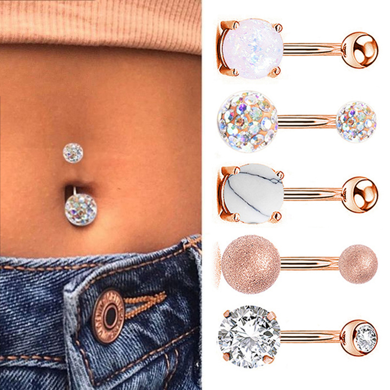 1pc Sexy Navel Piercing Belly Ring Belly Button Rings Barbell Bar Zircon Dangling Ombligo Party Round for Woman Body Jewelry 14g