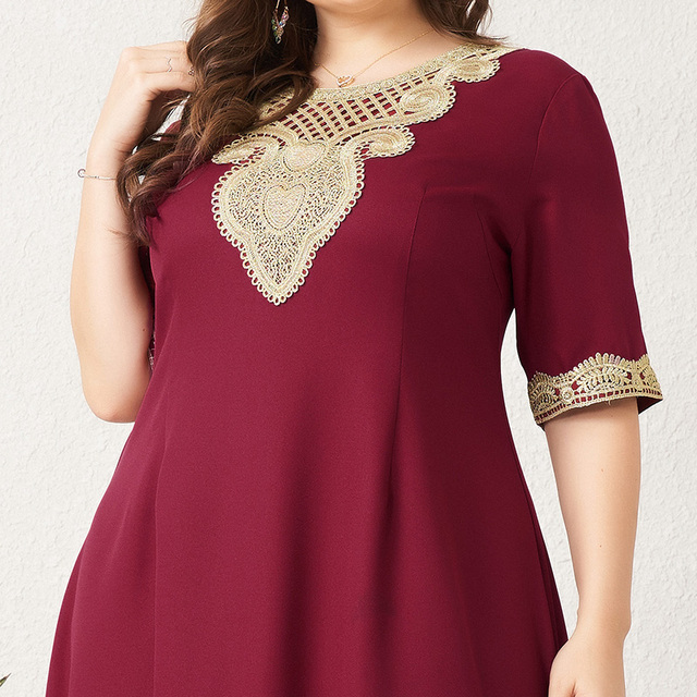 Women's Plus Size Dress Vintage Lace Patchwork Split Hem Solid Half Sleeve Maxi Party Prom Long Maxi Red Suelto Dresses 5
