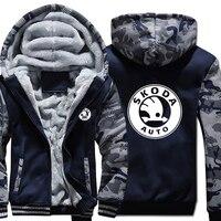 Skoda Auto Hoodies Winter Camouflage Sleeve Jacket Men Thicken Fleece Skoda Sweatshirts