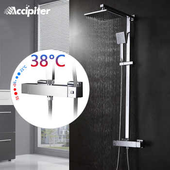 Bathroom Thermostatic Shower Set.Square Thermostatic Shower  Faucet Mixer.8 Square Shower Head,Square Hand Shower.Chrome Finish - DISCOUNT ITEM  5% OFF All Category