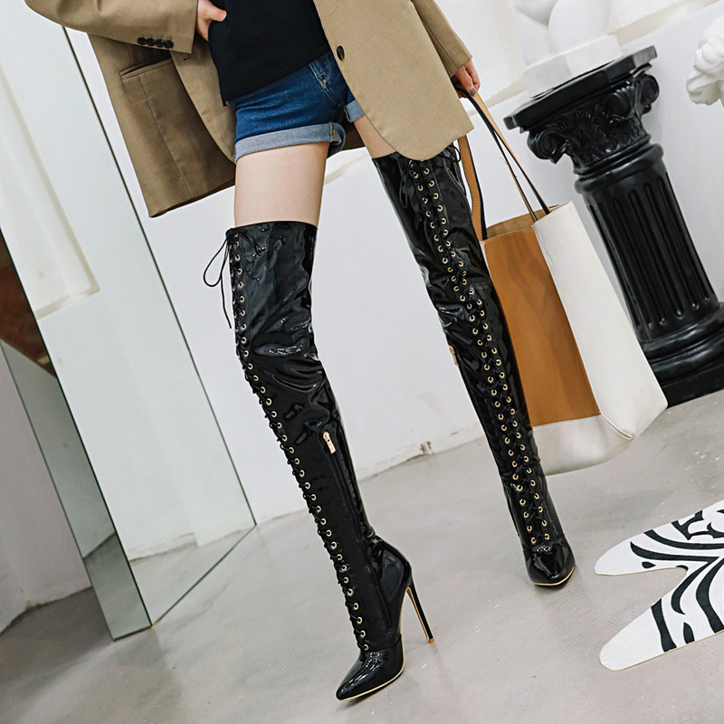 LDHZXC Autumn Winter Over the Knee <font><b>Boots</b></font> Women <font><b>Sexy</b></font> Fashion Fetish Shoes <font><b>Extreme</b></font> <font><b>High</b></font> <font><b>Heel</b></font> Platform Thigh <font><b>High</b></font> <font><b>Boots</b></font> Women image