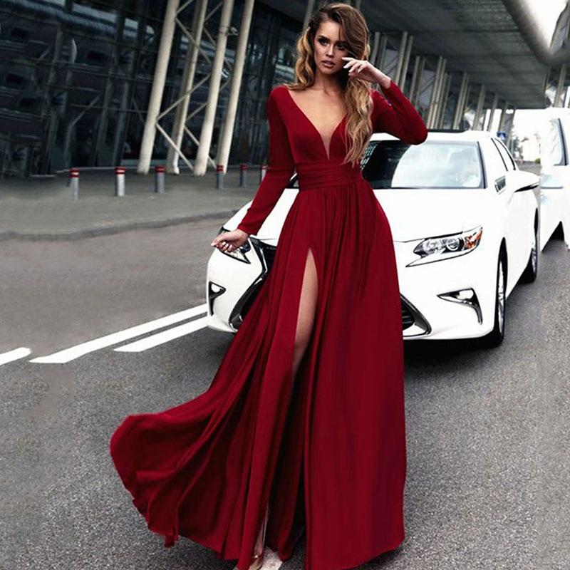 Eightree Sexy Evening Dress Long High Split Chiffon Evening Gowns Robe De Soiree Abendkleider Formal Women Prom Party Dresses