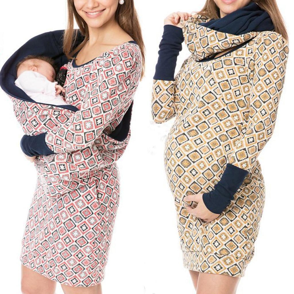 Hoodies Maternity Clothes For Women Dot Pregnancy Hooded Tops T-Shirt Winter Breastfeeding Nursing Pregnant Tee Shirt Autumn A1