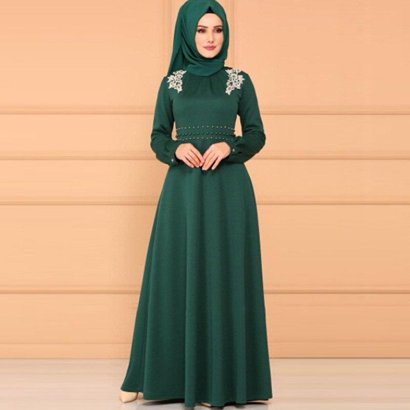 Abaya Middle Eastern Ethnic Style High Waist Lace Long Sleeve Long Dress Saudi Arabia Ramadan Mosque Prayer Dress Muslim Dress