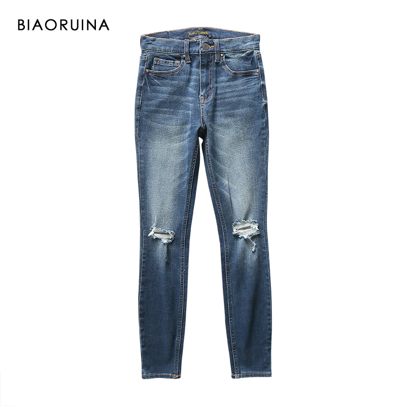 BIAORUINA Women's Washing Bleached Fashion Pencil Jeans Female High Waist Scratch Holes Ankle-Length Jeans New Arrival