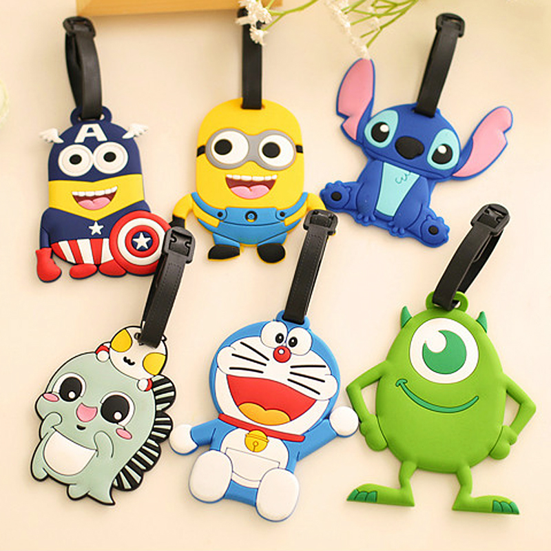 Cute Cartoon Minions Captain America Luggage Tag Women Men Travel Accessories Suitcase ID Addres Holder Baggage Boarding Label
