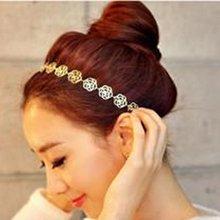Fashion New Lovely Metallic Lady Hollow Rose Flower Elastic Hair Band
