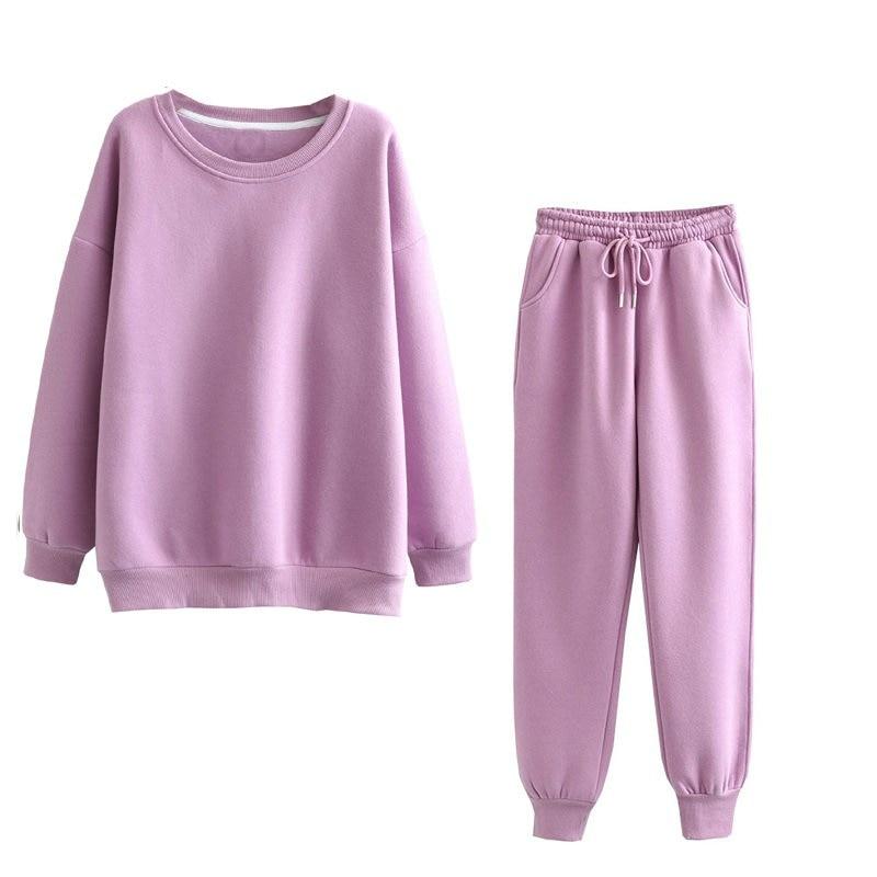 Tangada 2020 Autumn Winter Women warm yellow fleece 100% cotton suit 2 pieces sets o neck hoodies sweatshirt pants suits 6L24 8