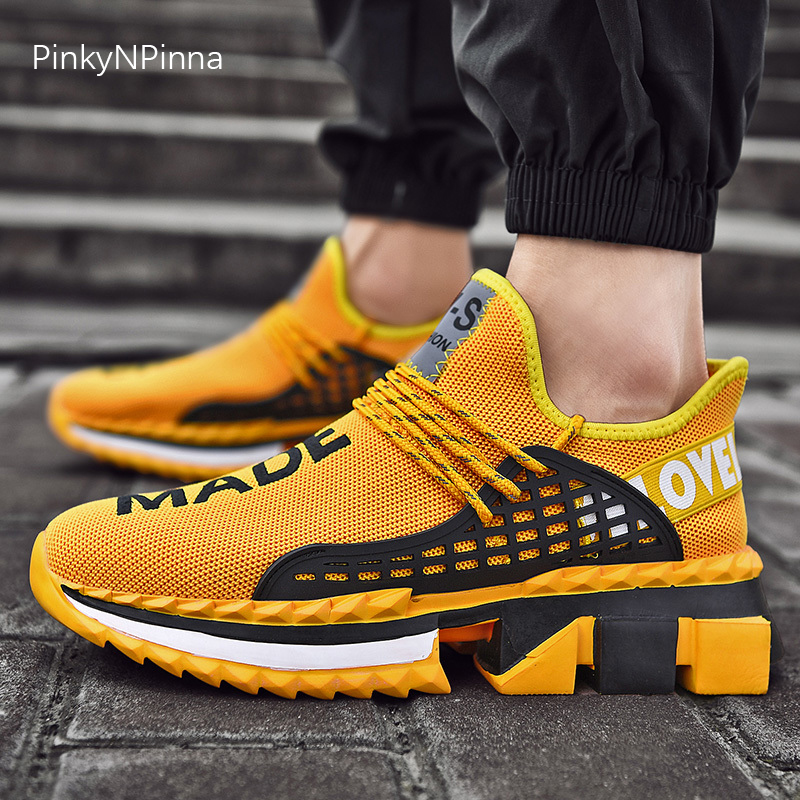 new cool lighted letter yellow designer young street sneakers men outdoor mesh laced up thick bottom trainers fashion shoes male