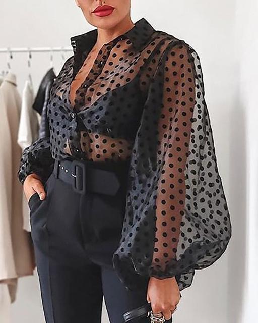 UK Womens Polka Dot Sheer Mesh See Through Tops Cocktail Party Club Shirt Blouse