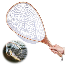 Yeahmart 1pc Fly Fishing Net Mesh Wooden Handle Rubber Landing PAN Net Catch and Release Holder Basket Trout Fishing Catch Tools