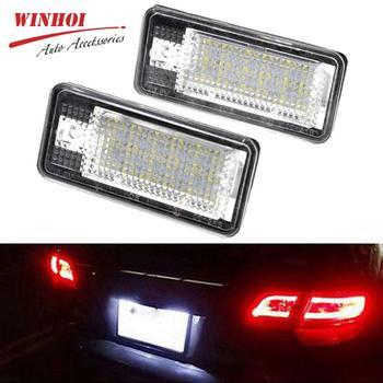 2PCS LED Auto Lizenz Platte Licht Dome Lampe Für Audi A3/S3 A4/S4 B6 (8E/8H) a4/S4 B7 (8E/8H) A6/C6 (4F) s6 A8/S8 Q7 RS4 RS6 03-09