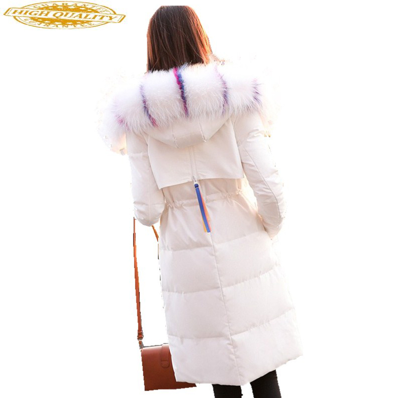 Winter Coat Women White Down Jacket High Quality Long Korean Thick Big Fur Collar Jackets Winter Womens Sobretudo KJ436
