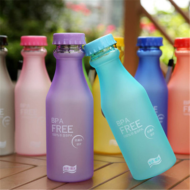 550ML Candy Color BPA Free Water Bottles Leak-proof Drinking Cup Kettle Outdoor Sports Water Bottle for Travel Running Camping