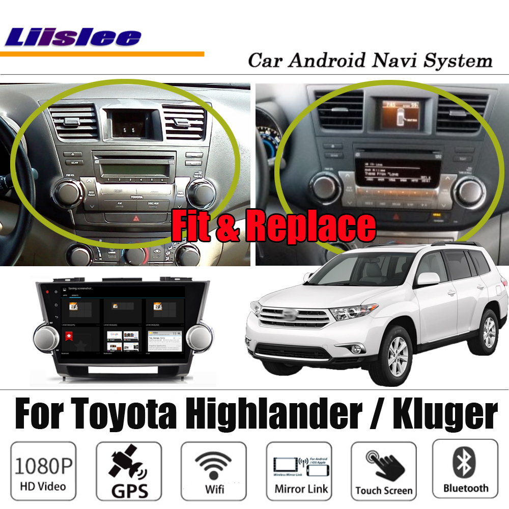 Liislee Android For Toyota Highlander / Kluger 2007~2014 Stereo Carplay HD Screen NO DVD Map GPS Navigation Multimedia System image