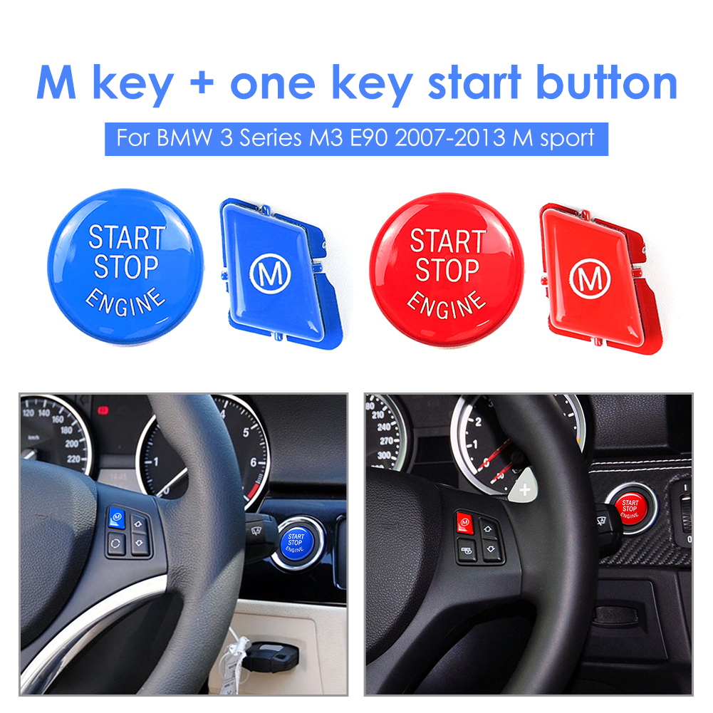 Car Steering Wheel M Button + Engine Start Stop Switch Button Replace Cover For BMW E90 E92 E93 M3 E91 3 Series M Sport 2007-201