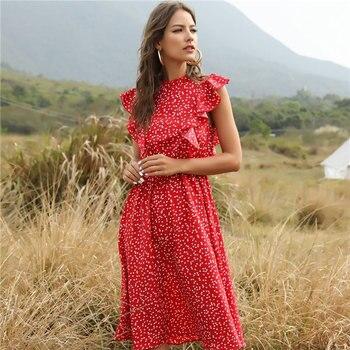 2021 New Summer Dot Print Dress Women Casual Butterfly Sleeve Ruffles Medium Long Chiffon Dress 1