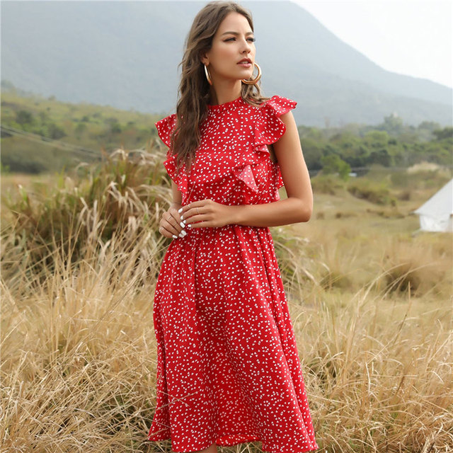 ruffled calf-length summer dress 1