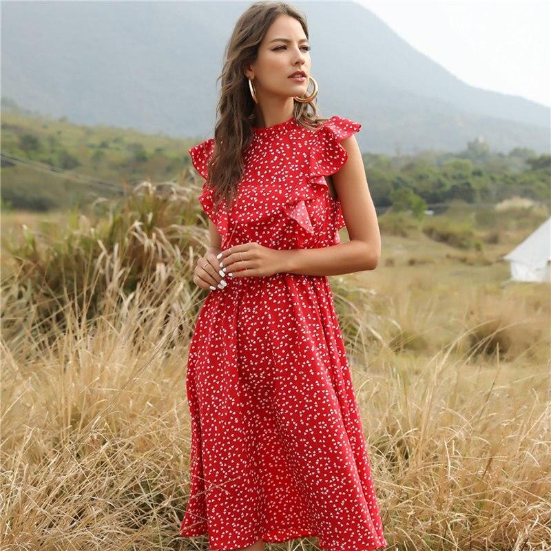 2020 New Summer Dot Print Dress Women Casual Butterfly Sleeve Ruffles Medium Long Chiffon Dress(China)