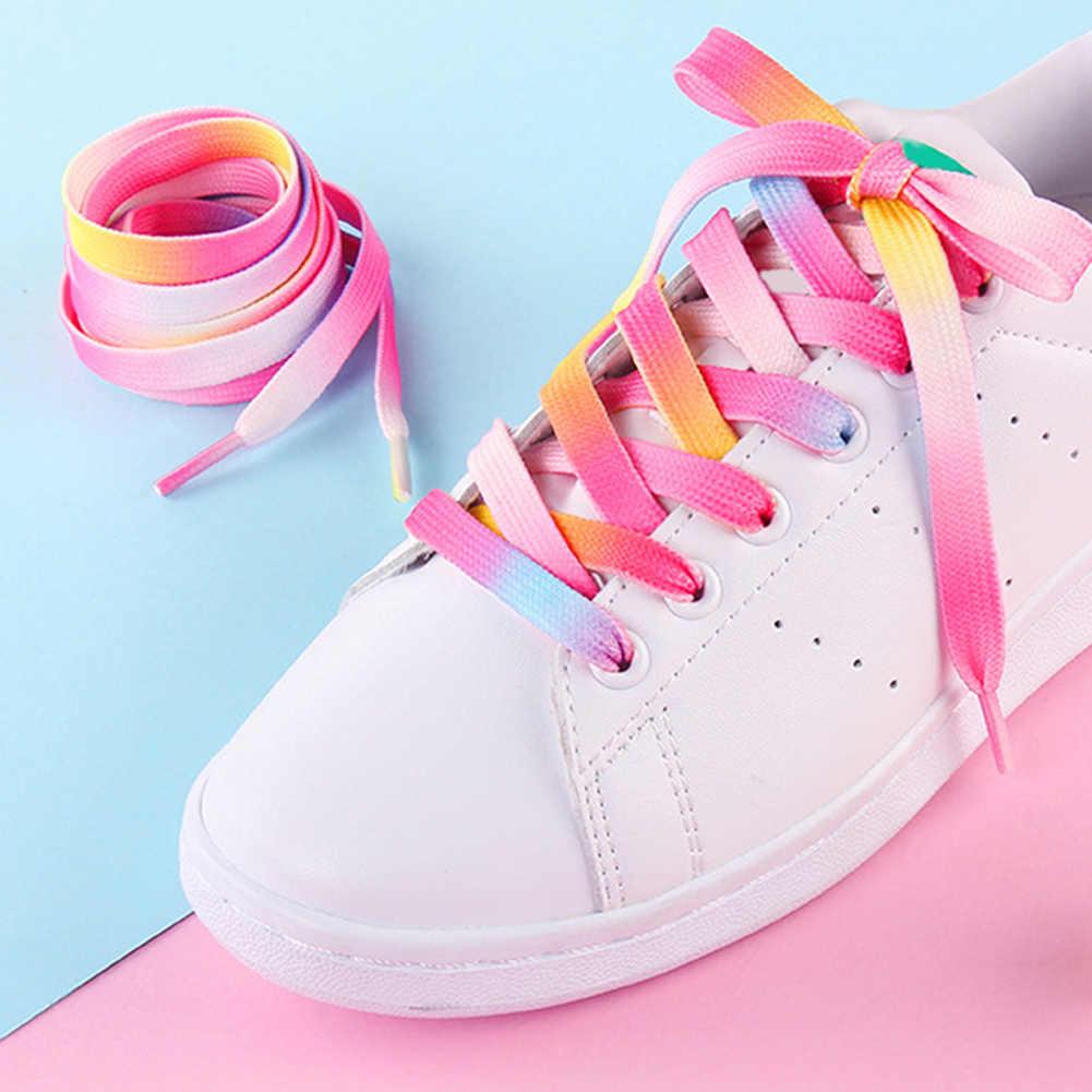1 para modna tęcza drukowane sznurowadła trampki dekoracji wzór kolorowe sznurowadła płaski but koronki buty sportowe struny
