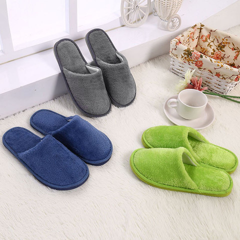 Slippers Men Winter Fleece House Shoes Floor Lovers Home Shoes Warm Soft Flats Solid  Men Shoes Indoor Slip-On Shoes  #YL5 Islamabad